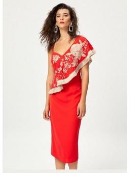 CLAVEL Vestido coral volante bordado – Mioh