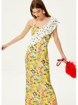 DALIA Vestido midi  floral con lunares – Mioh