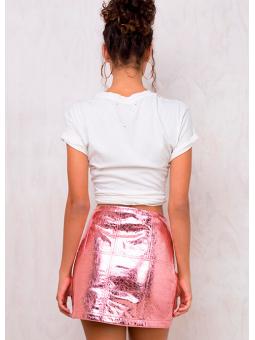 Falda metalizada ecopiel rosa For Love & Lemons