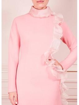 Vestido midi rosa con volante The 2nd Skin & Co