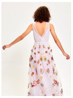 Vestido de Tul  Bordado Flores y Lentejuelas